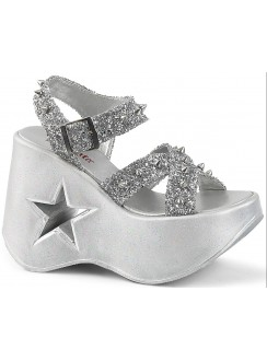 Dynamite Star Womens Platform Silver Sandal Gothic Plus Gothic Clothing, Jewelry, Goth Shoes & Boots & Home Decor
