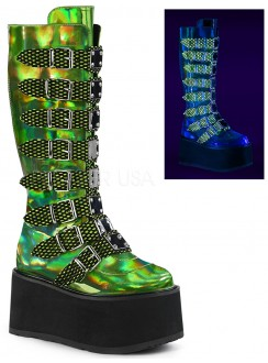 Damned Lime Green Hologram Knee Boots for Women Gothic Plus Gothic Clothing, Jewelry, Goth Shoes & Boots & Home Decor