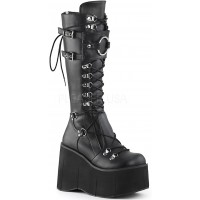 Kera Black Platform Knee High Buckled Boots