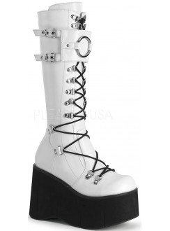 Kera White Platform Knee High Buckled Boots Gothic Plus Gothic Clothing, Jewelry, Goth Shoes & Boots & Home Decor