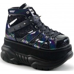 Neptune Black Holographic Mens Shoes Gothic Plus Gothic Clothing, Jewelry, Goth Shoes & Boots & Home Decor
