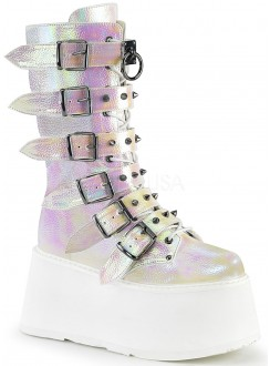 Damned Pearl Shimmer Buckled Boots for Women Gothic Plus Gothic Clothing, Jewelry, Goth Shoes & Boots & Home Decor