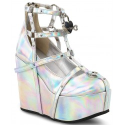 Heart Charm Poison Hologram Cage Wedge Gothic Shoe Gothic Plus Gothic Clothing, Jewelry, Goth Shoes & Boots & Home Decor