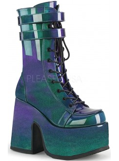 Purple-Green Patent Platform Chunky Heel Boots Gothic Plus Gothic Clothing, Jewelry, Goth Shoes & Boots & Home Decor