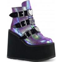 Purple Iridescent Platform Wedge Ankle Boots