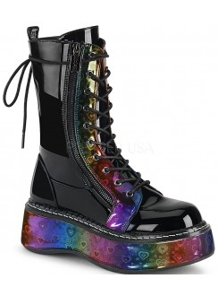 Emily Rainbow Hearts Platform Mid-Calf Boot Gothic Plus Gothic Clothing, Jewelry, Goth Shoes & Boots & Home Decor