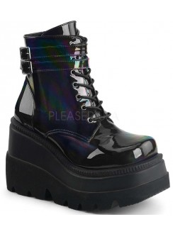 Shaker 52 Lace Up Front Stacked Wedge Ankle Boot Gothic Plus Gothic Clothing, Jewelry, Goth Shoes & Boots & Home Decor