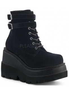Shaker 52 Black Velvet Stacked Wedge Ankle Boot Gothic Plus Gothic Clothing, Jewelry, Goth Shoes & Boots & Home Decor