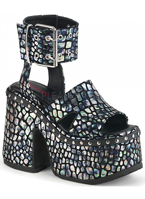 Camel Silver Hologram Platform Sandals at Gothic Plus, Gothic Clothing, Jewelry, Goth Shoes & Boots & Home Decor