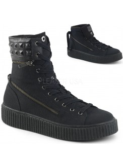 Removable Cuff Black Canvas High Top Sneaker Gothic Plus Gothic Clothing, Jewelry, Goth Shoes & Boots & Home Decor