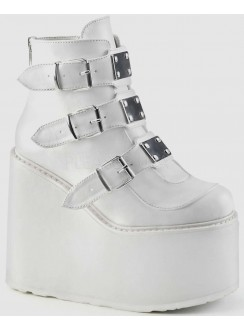 White Swing 105 Platform Wedge Ankle Boot Gothic Plus Gothic Clothing, Jewelry, Goth Shoes & Boots & Home Decor