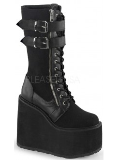 Swing 221 Canvas and Faux Leather Knee Boot Gothic Plus Gothic Clothing, Jewelry, Goth Shoes & Boots & Home Decor