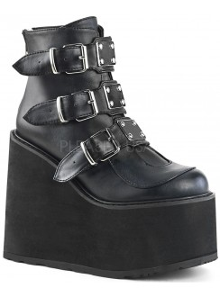 Black Faux Leather Swing 105 Platform Ankle Boot Gothic Plus Gothic Clothing, Jewelry, Goth Shoes & Boots & Home Decor