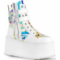 Damned White Charmed Ankle Boots