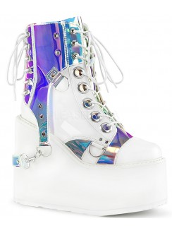 Hologram Bondage Strap White Gothic Ankle Boots Gothic Plus Gothic Clothing, Jewelry, Goth Shoes & Boots & Home Decor