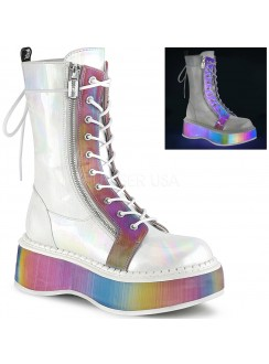 Emily Rainbow Platform White Mid-Calf Boot Gothic Plus Gothic Clothing, Jewelry, Goth Shoes & Boots & Home Decor