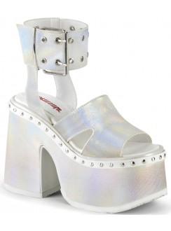 Camel White Hologram Platform Sandals Gothic Plus Gothic Clothing, Jewelry, Goth Shoes & Boots & Home Decor