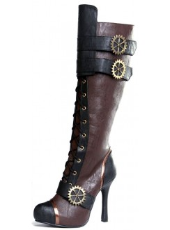 Quinley Steampunk Brown Boots Gothic Plus Gothic Clothing, Jewelry, Goth Shoes & Boots & Home Decor