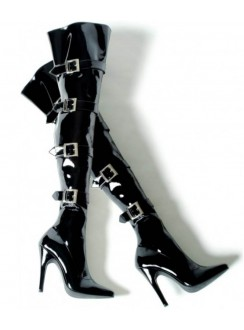 Buckle Up Black Thigh High 5 Inch Heel Boot Gothic Plus Gothic Clothing, Jewelry, Goth Shoes & Boots & Home Decor