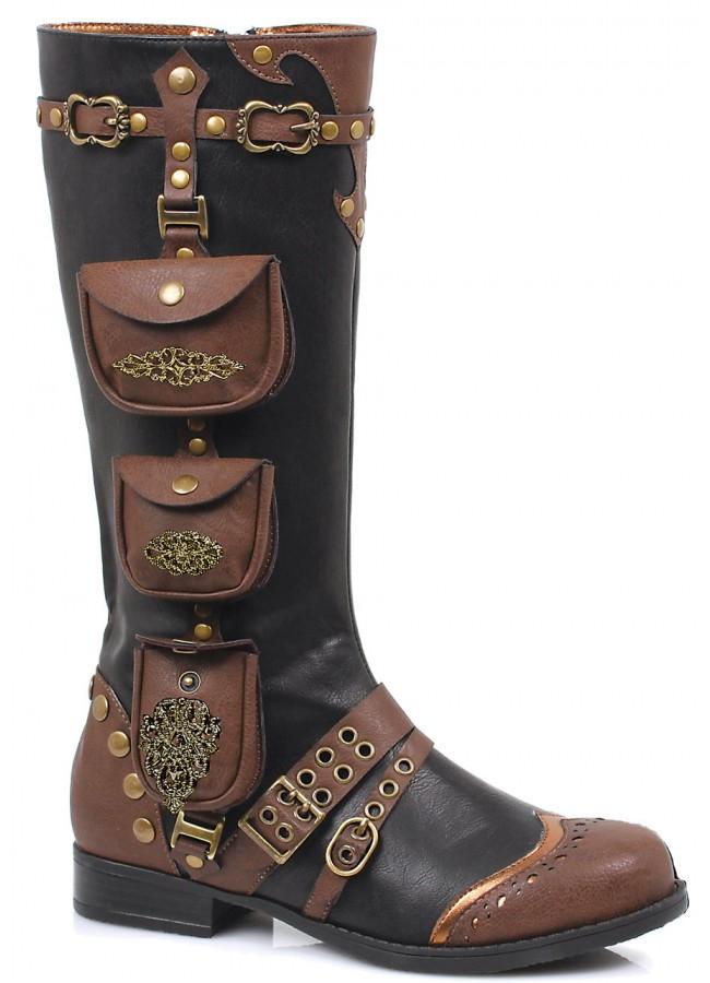 Womens Low Heel Steampunk Style Boot In Black Multi