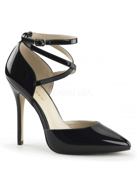 Dorsey Criss Cross Ankle Strap Black Amuse Pump at Gothic Plus, Gothic Clothing, Jewelry, Goth Shoes & Boots & Home Decor