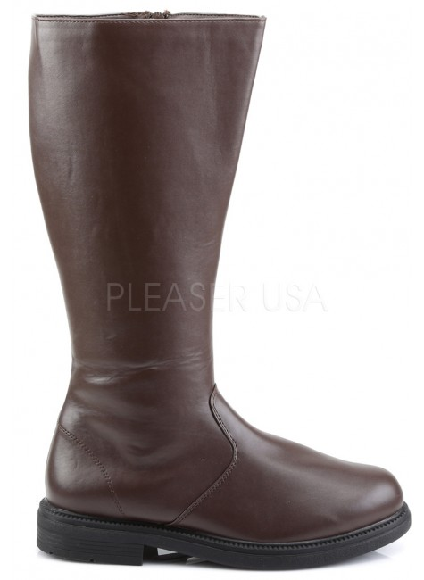 Captain Mid Calf Plain Brown Boots at Gothic Plus, Gothic Clothing, Jewelry, Goth Shoes & Boots & Home Decor