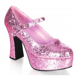 Baby Pink Mary Jane Glitter Square Heeled Pump Gothic Plus Gothic Clothing, Jewelry, Goth Shoes & Boots & Home Decor