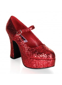 Red Mary Jane Glitter Square Heeled Pump Gothic Plus Gothic Clothing, Jewelry, Goth Shoes & Boots & Home Decor