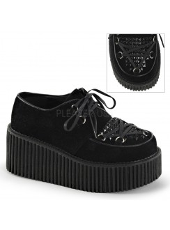 Black Faux Suede Studded Womens Creeper Gothic Plus Gothic Clothing, Jewelry, Goth Shoes & Boots & Home Decor