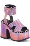 Camel Pink Hologram Platform Sandals