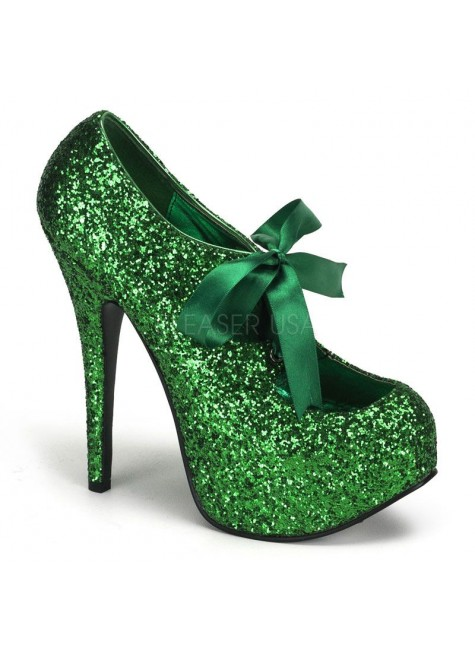 Teeze Green Glittered Platform Pump at Gothic Plus, Gothic Clothing, Jewelry, Goth Shoes & Boots & Home Decor