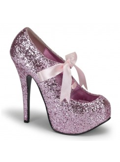 Teeze Baby Pink Glittered Platform Pump Gothic Plus Gothic Clothing, Jewelry, Goth Shoes & Boots & Home Decor