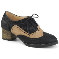 Russell Womens Wingtip Oxford in Tan and Black