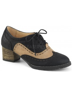 Russell Womens Wingtip Oxford in Tan and Black Gothic Plus Gothic Clothing, Jewelry, Goth Shoes & Boots & Home Decor