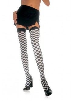 Checkerboard Thigh High Stockings Gothic Plus Gothic Clothing, Jewelry, Goth Shoes & Boots & Home Decor