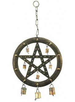 Pentacle Wind Chime with Bells Gothic Plus Gothic Clothing, Jewelry, Goth Shoes & Boots & Home Decor