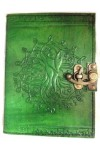 Tree of Life Green Leather Journal with Latch