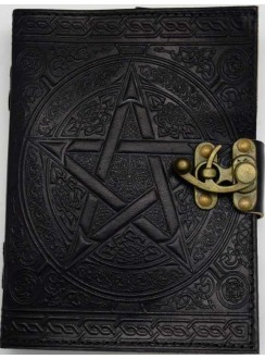 Pentacle Black Leather Book of Shadows 7 Inch Journal with Latch Gothic Plus Gothic Clothing, Jewelry, Goth Shoes & Boots & Home Decor