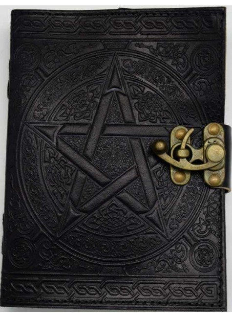 Pentacle Black Leather Book of Shadows 7 Inch Journal with Latch at Gothic Plus, Gothic Clothing, Jewelry, Goth Shoes & Boots & Home Decor