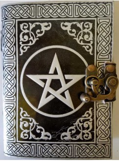 Pentacle Black and Silver Book of Shadows Journal with Latch Gothic Plus Gothic Clothing, Jewelry, Goth Shoes & Boots & Home Decor