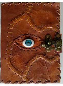 All Knowing Eye Stitched Leather Journal with Latch Gothic Plus Gothic Clothing, Jewelry, Goth Shoes & Boots & Home Decor