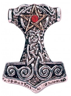 Pentacle Thor's Hammer Pewter Necklace Gothic Plus Gothic Clothing, Jewelry, Goth Shoes & Boots & Home Decor
