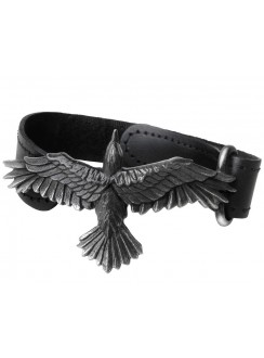 Black Consort Raven Leather Strap Bracelet