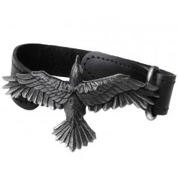 Black Consort Raven Leather Strap Bracelet Gothic Plus  Gothic Clothing, Jewelry, Goth Shoes, Boots & Home Decor