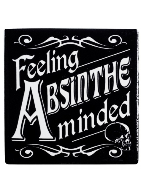 Feeling Absinthe Minded Ceramic Coaster at Gothic Plus, Gothic Clothing, Jewelry, Goth Shoes & Boots & Home Decor
