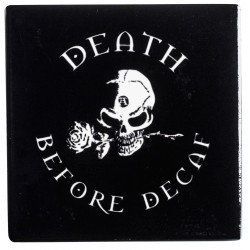 Death Before Decaf Gothic Ceramic Coaster Gothic Plus Gothic Clothing, Jewelry, Goth Shoes & Boots & Home Decor