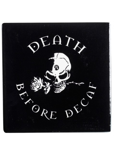Death Before Decaf Gothic Ceramic Coaster at Gothic Plus, Gothic Clothing, Jewelry, Goth Shoes & Boots & Home Decor