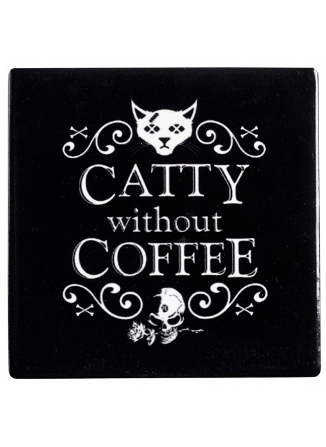 Catty Without Coffee Ceramic Coaster at Gothic Plus, Gothic Clothing, Jewelry, Goth Shoes & Boots & Home Decor