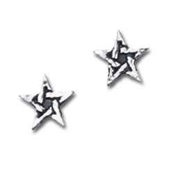Pentagram Stud Pewter Earrings Gothic Plus Gothic Clothing, Jewelry, Goth Shoes & Boots & Home Decor