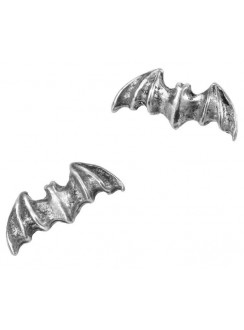 Bat Stud Pewter Earrings Gothic Plus Gothic Clothing, Jewelry, Goth Shoes & Boots & Home Decor